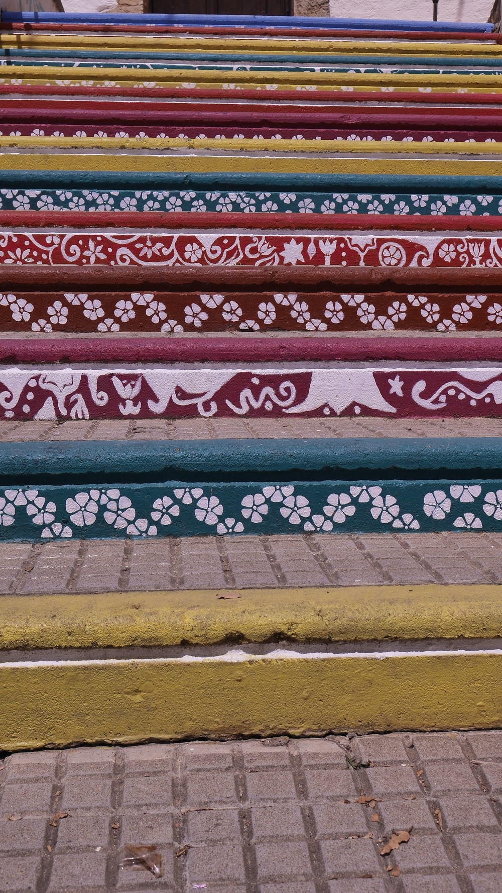 multicolored stair paint