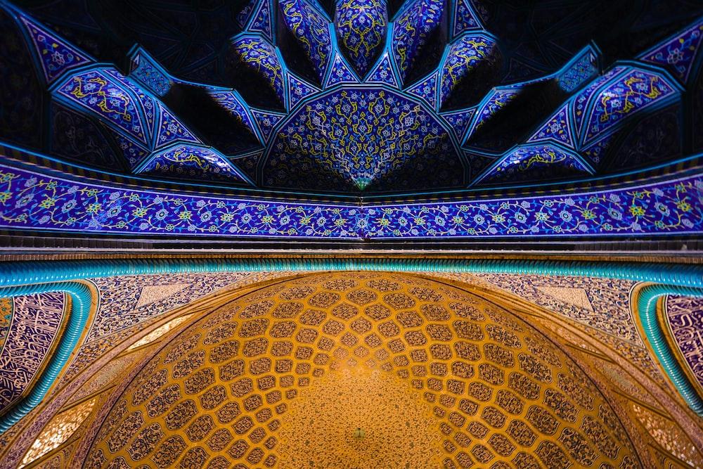 blue and multicolored wallpaper
