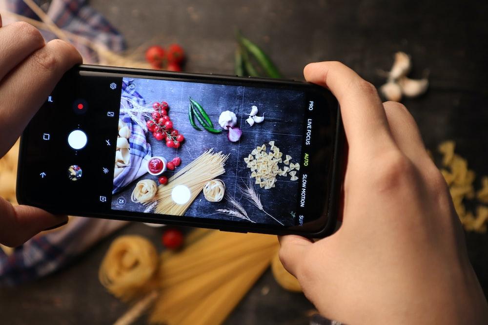 variety of vegetables photo on smarphone