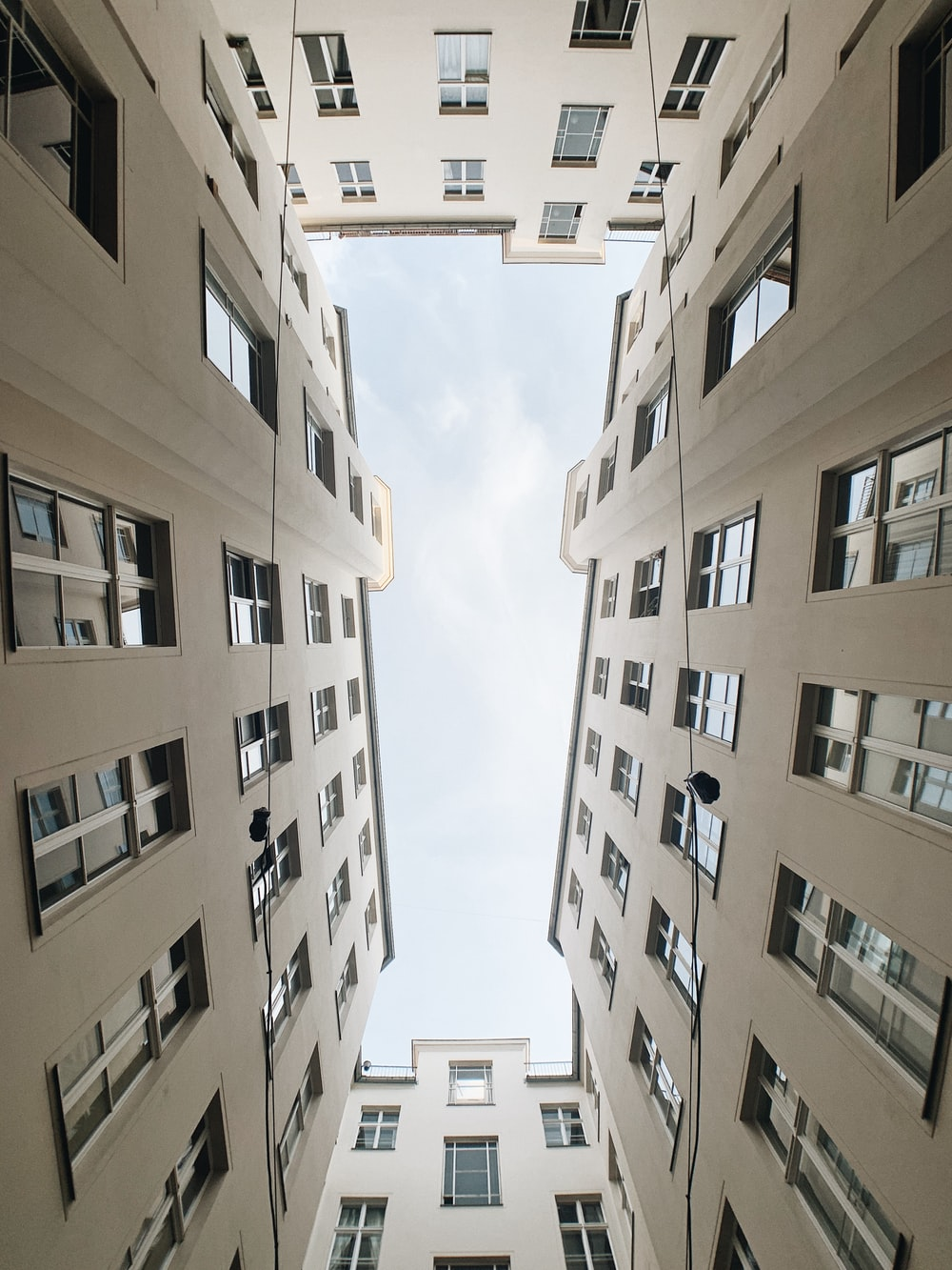 beige high-top building