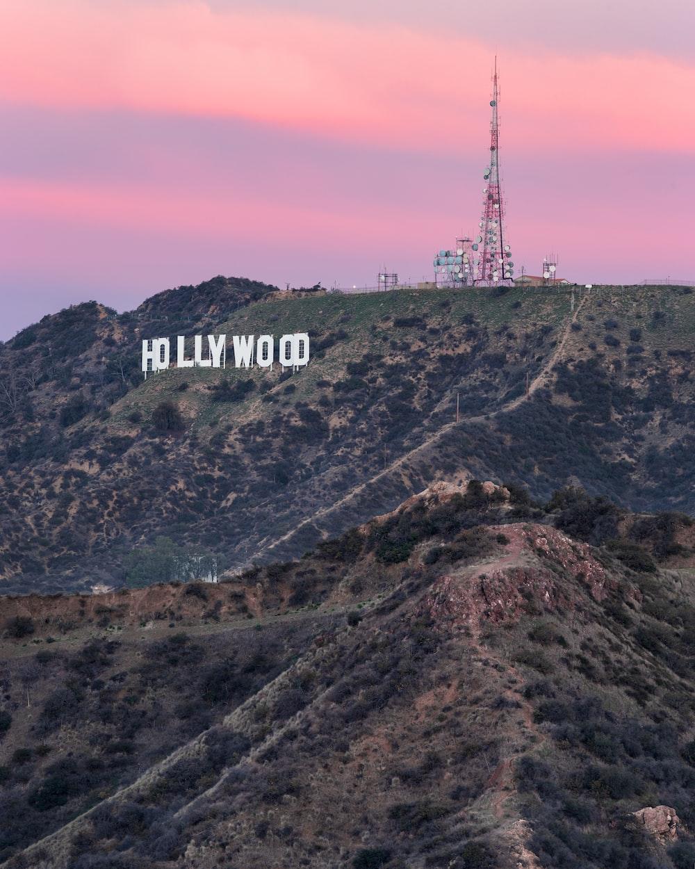 Hollywood signage on mountain