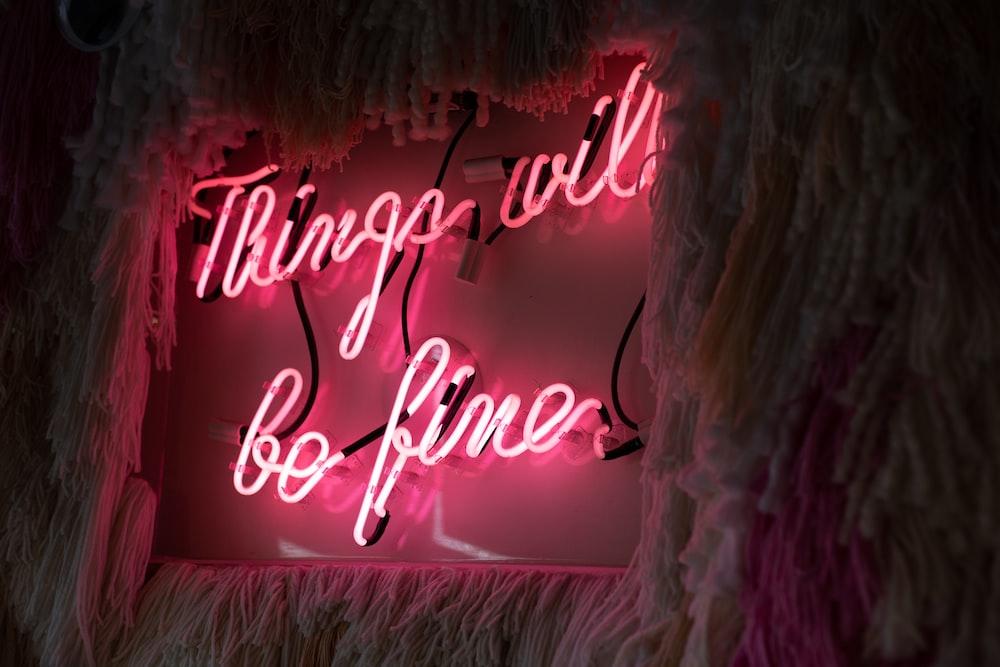 pink neon light signage
