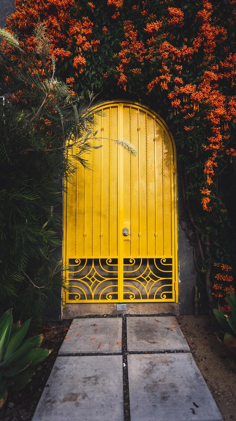 yellow metal door close-up photography