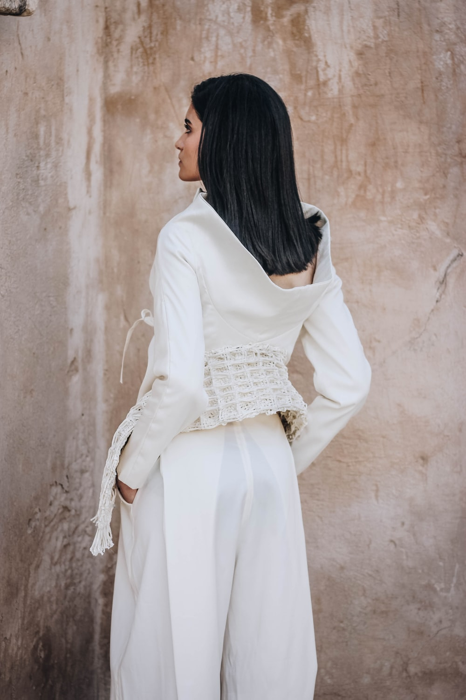 woman white blouse