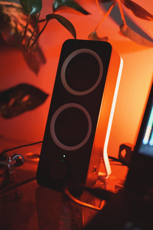 black desktop speaker close-up photography
