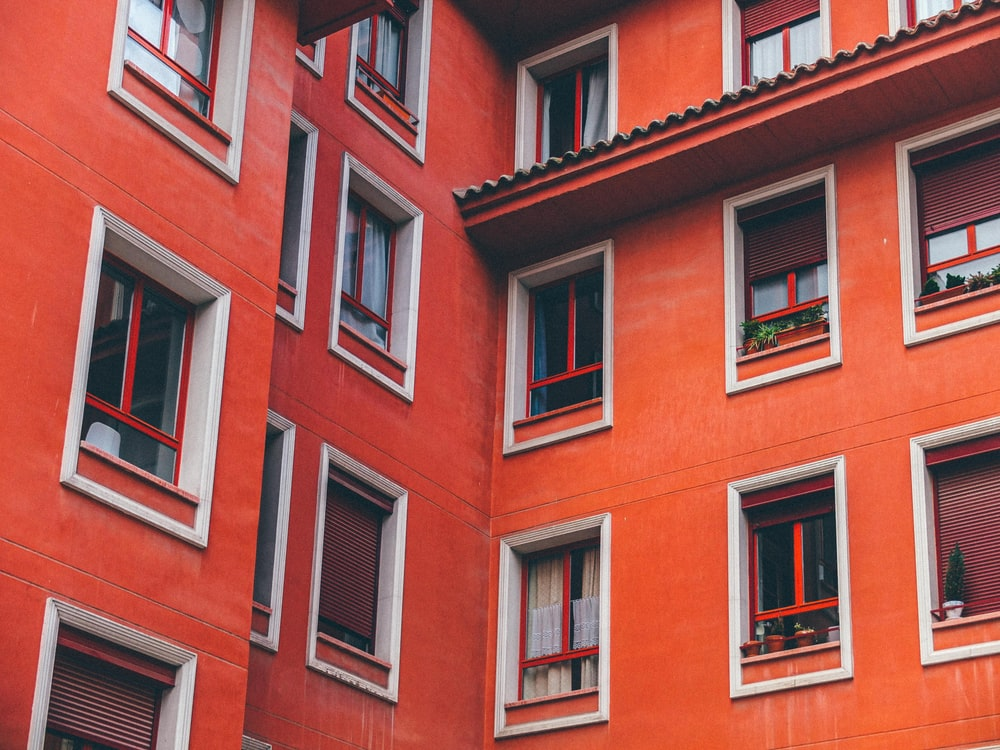 red painted building