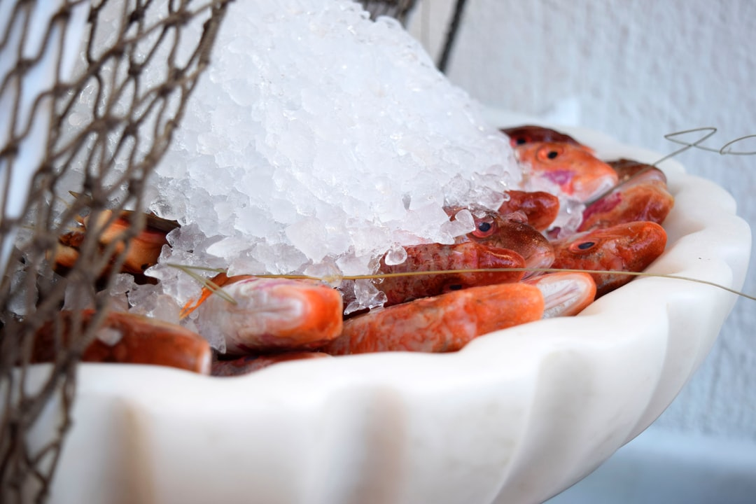 Fresh red mullet fish in ice