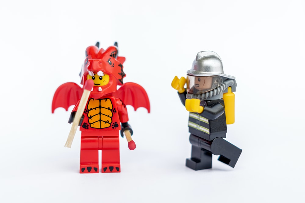 two Lego character toys illustration
