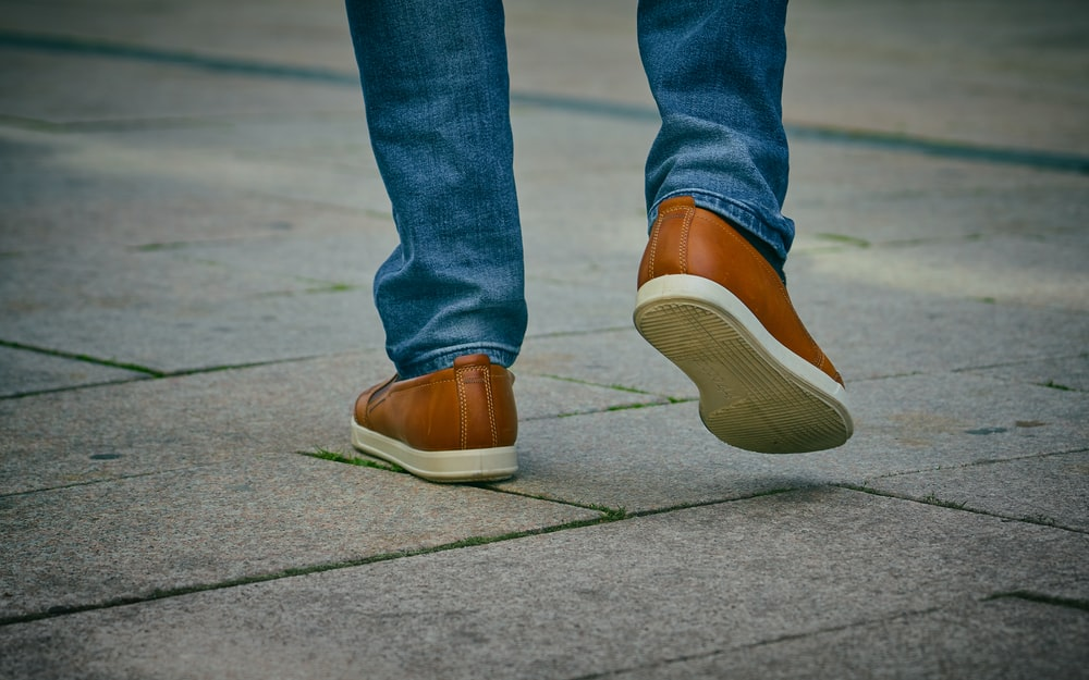 pair of brown shoe
