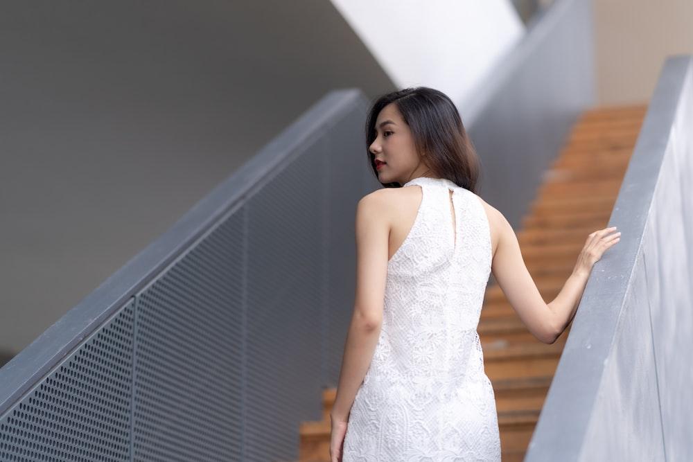 woman wearing white tank dress