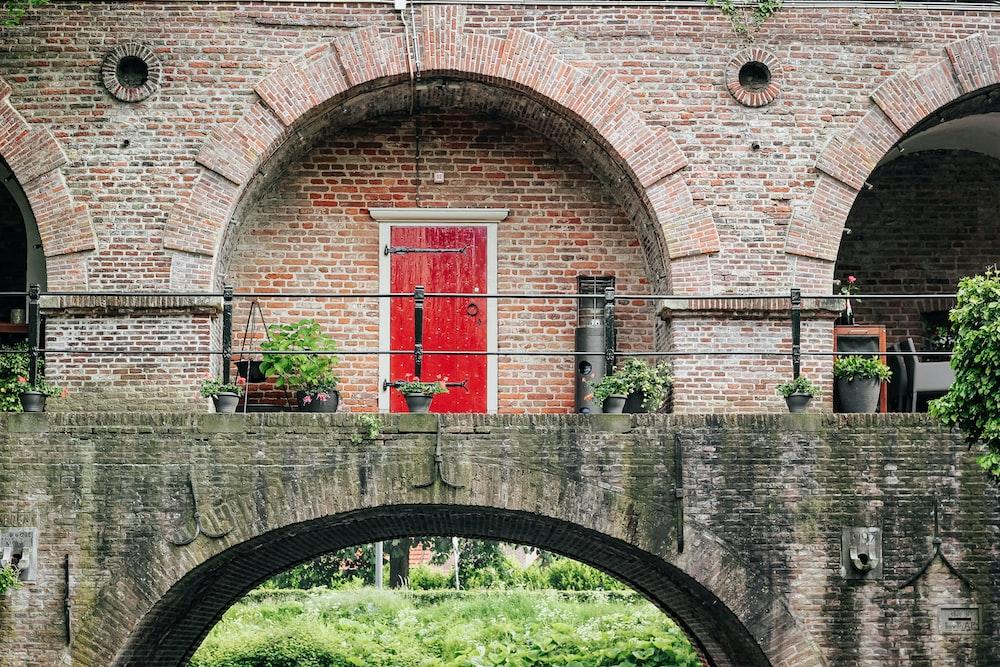 red door on bridge