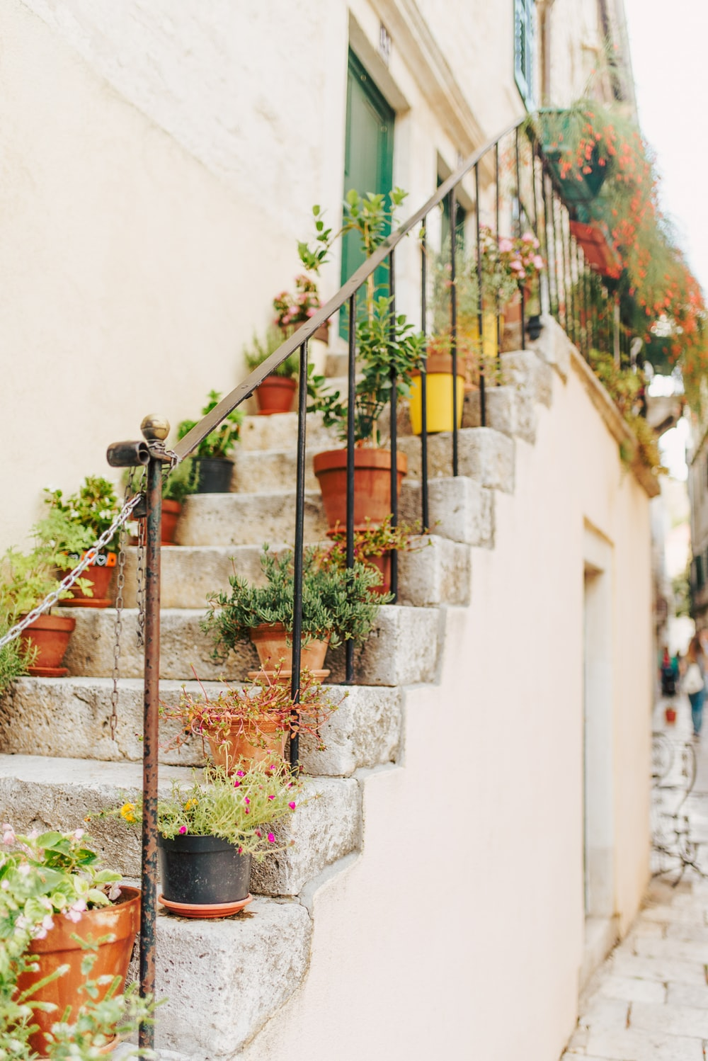 flower pots on stairs