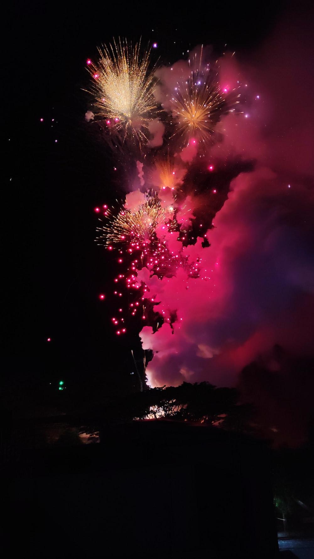 firecrackers during nighttime