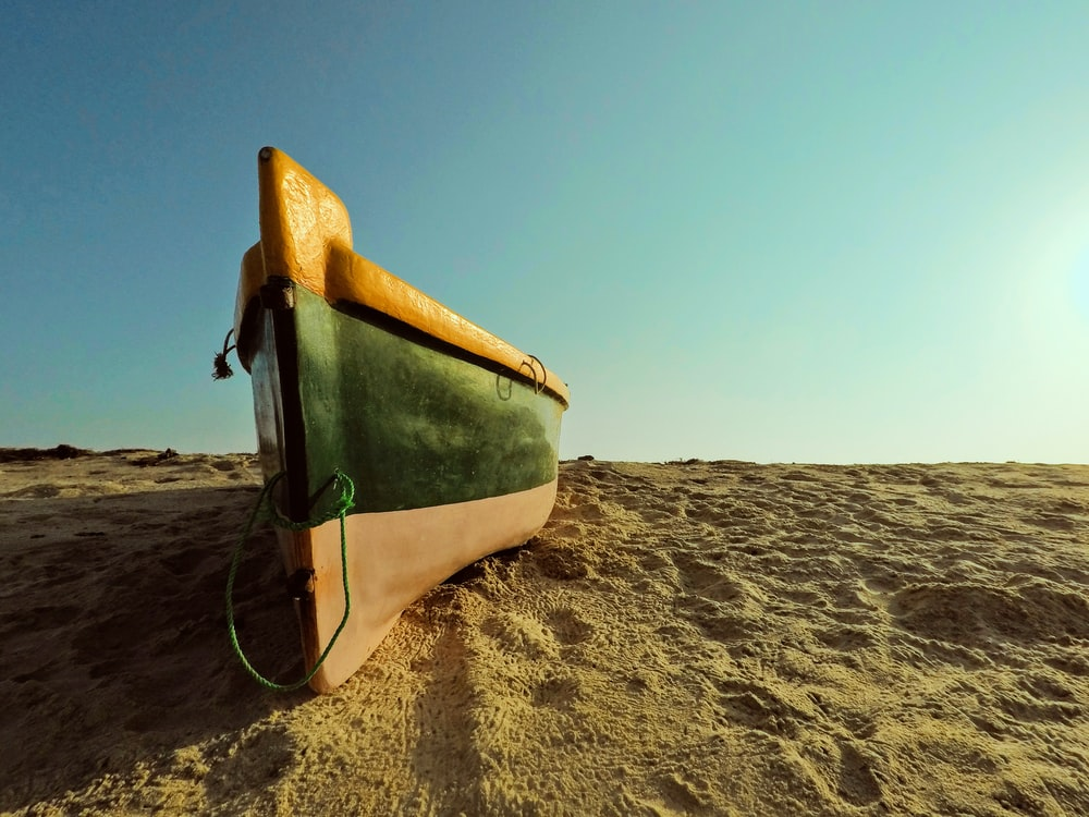 green and brown boat