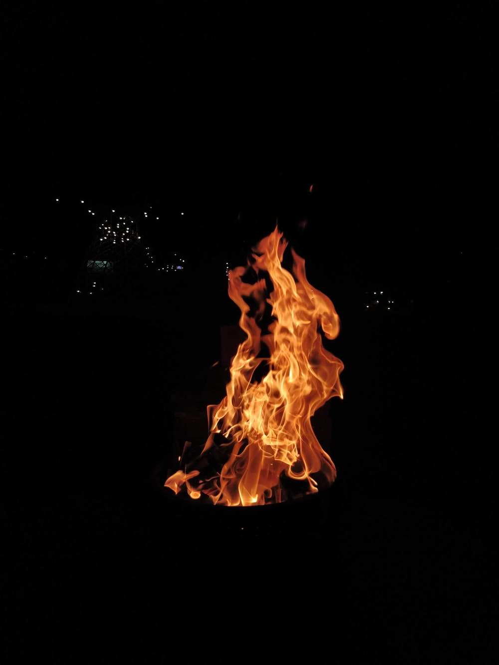 bonfire at night time