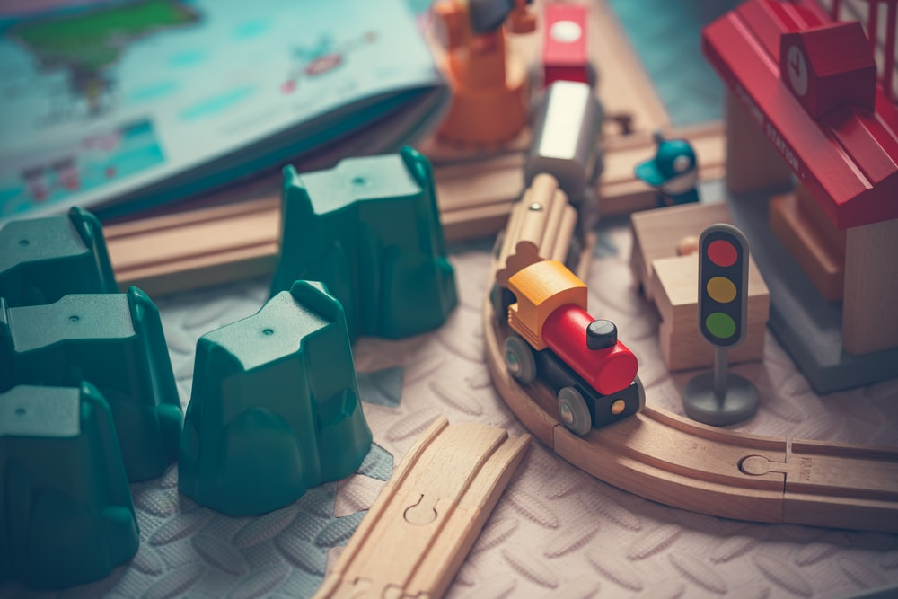 wooden train toy on track