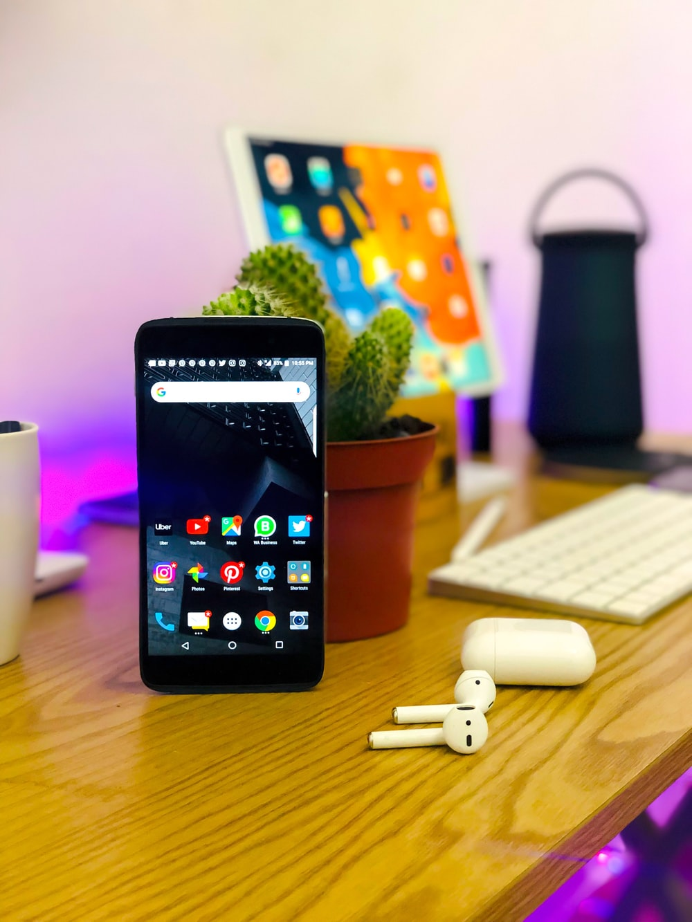 black Android smartphone on table