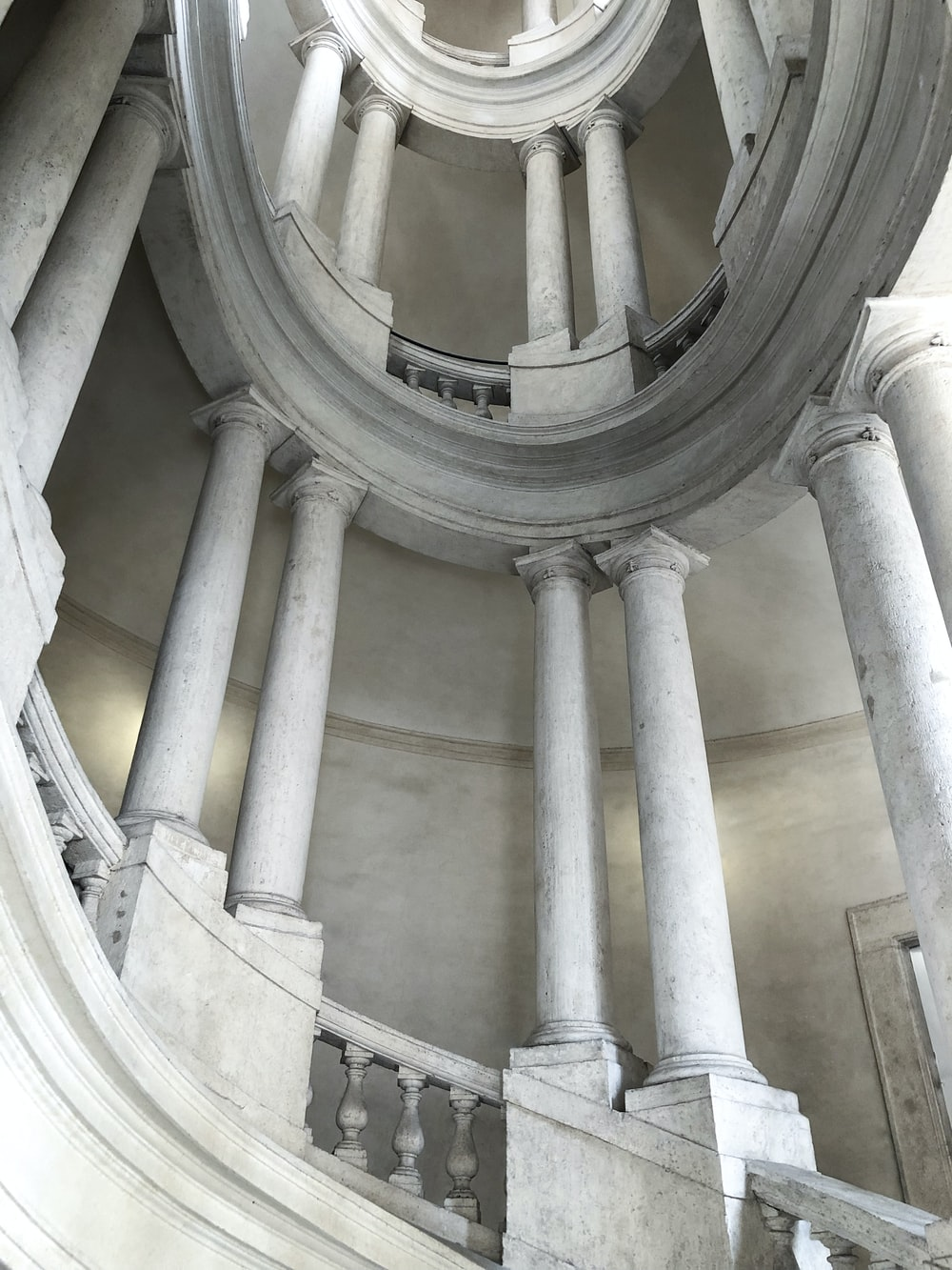 low angle photo of grey concrete stair