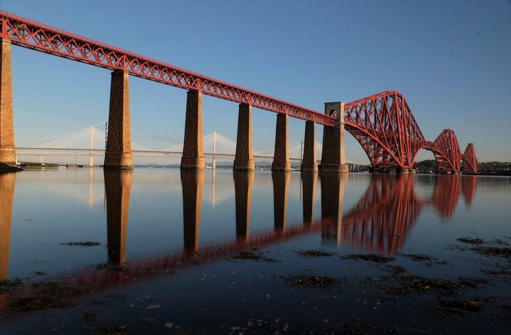 reflection photography of red cable bridge