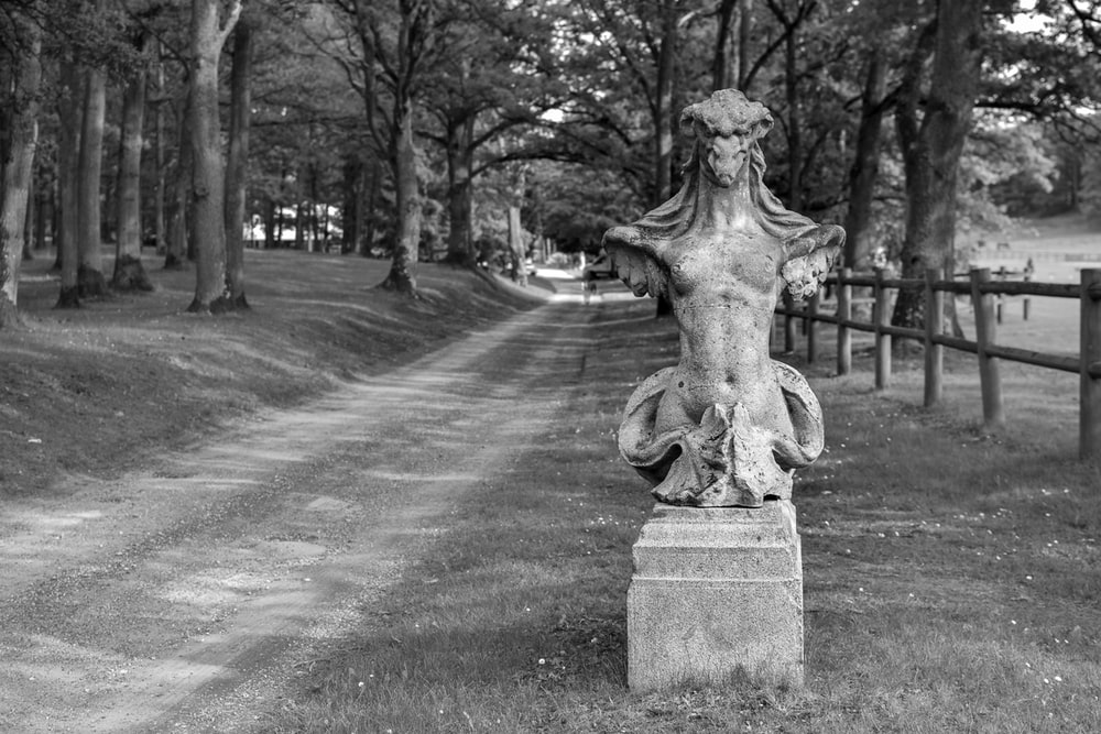 greyscale photography of statue