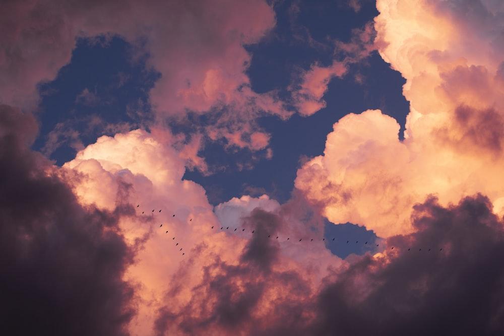 white and blue nimbus cloud