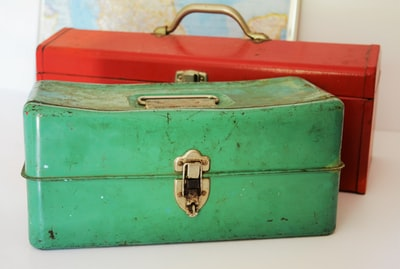 This old green toolbox wears its age well and hints at owners long past, their workday woes and triumphs—the daily grind.