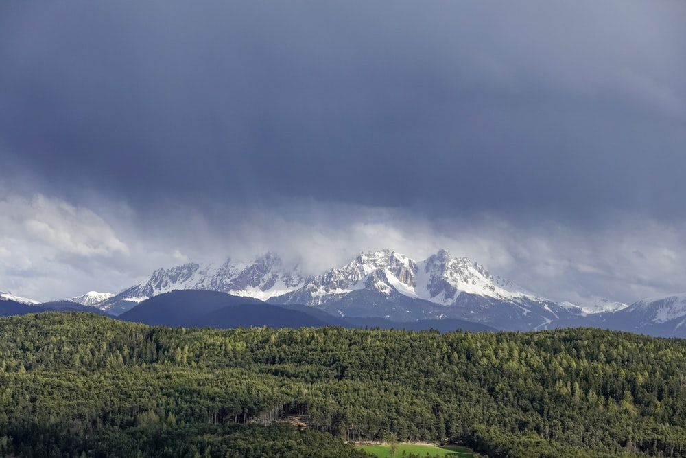 forest near snow capped mountains under thick cloud formation during daytime