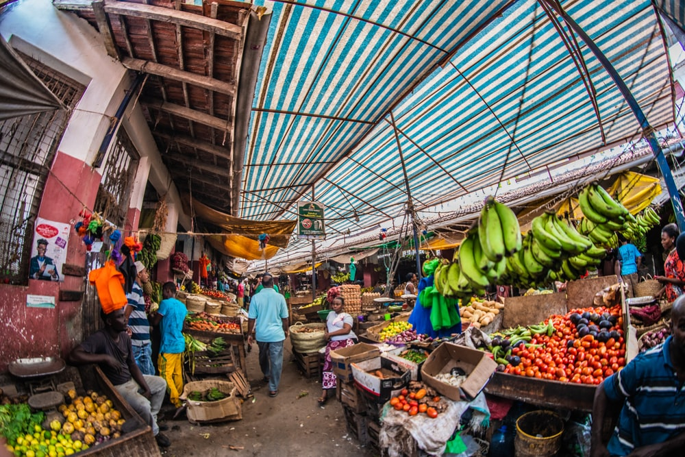 variety of fruits in market building
