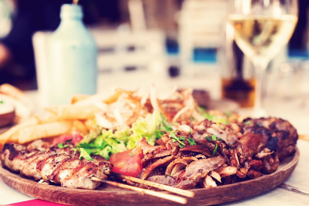 roasted meat with salad dish
