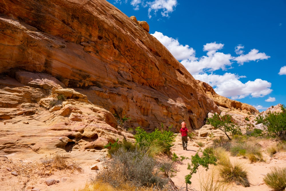 person walking on brown rocky mountain during daytime