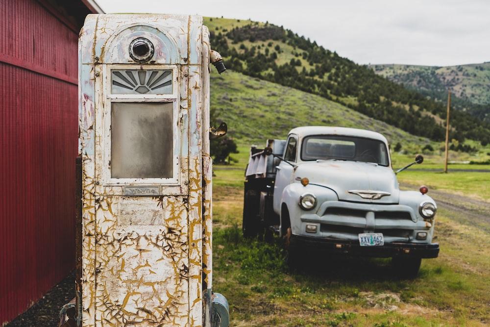 gray truck near mountain