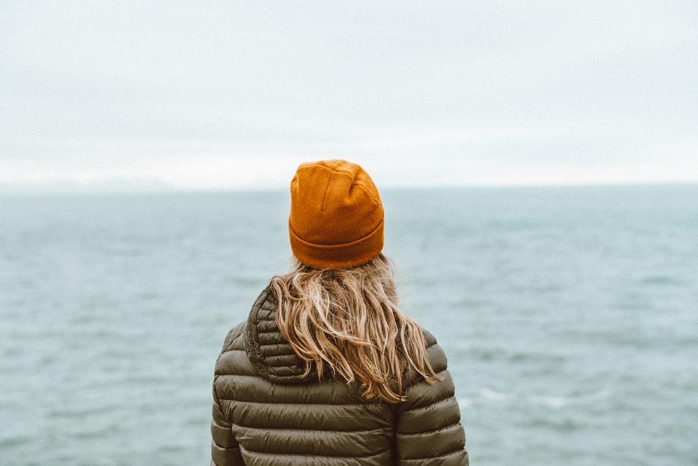 woman in black bubble jacket