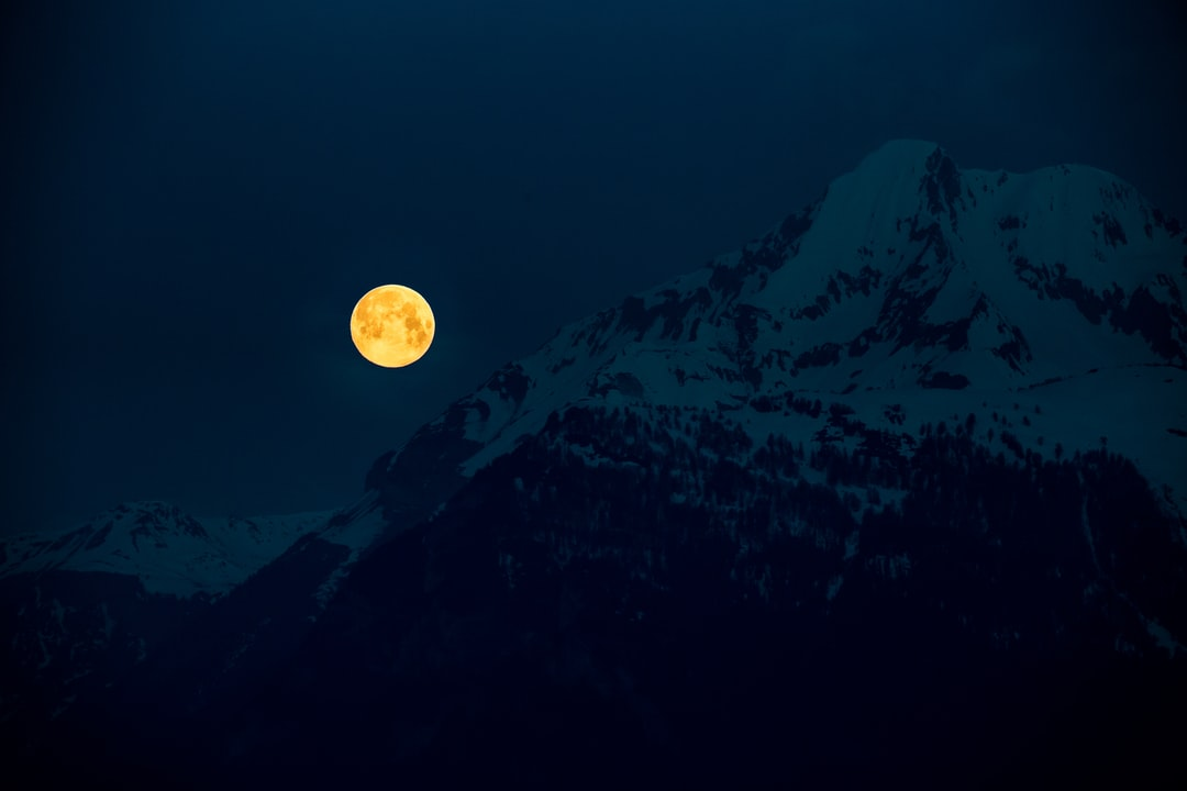 View of the early morning setting pink full moon.