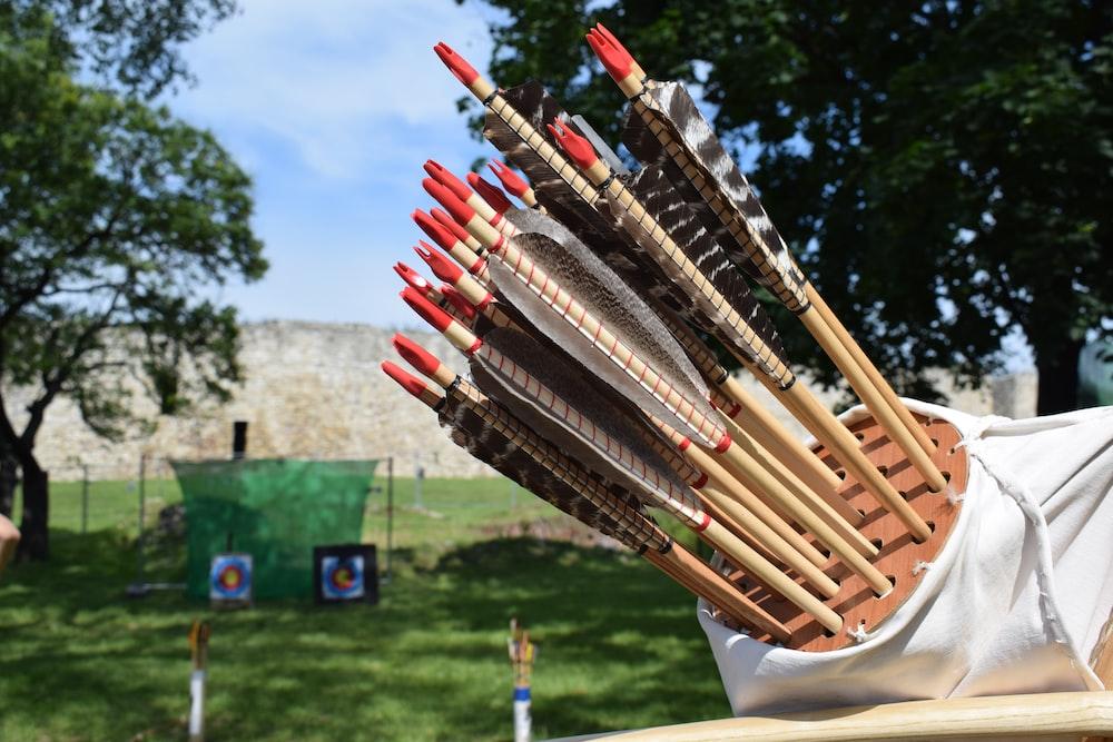 arrows on organizer near trees