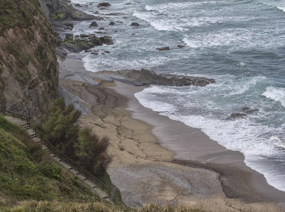 bird's eye view photography of beach line