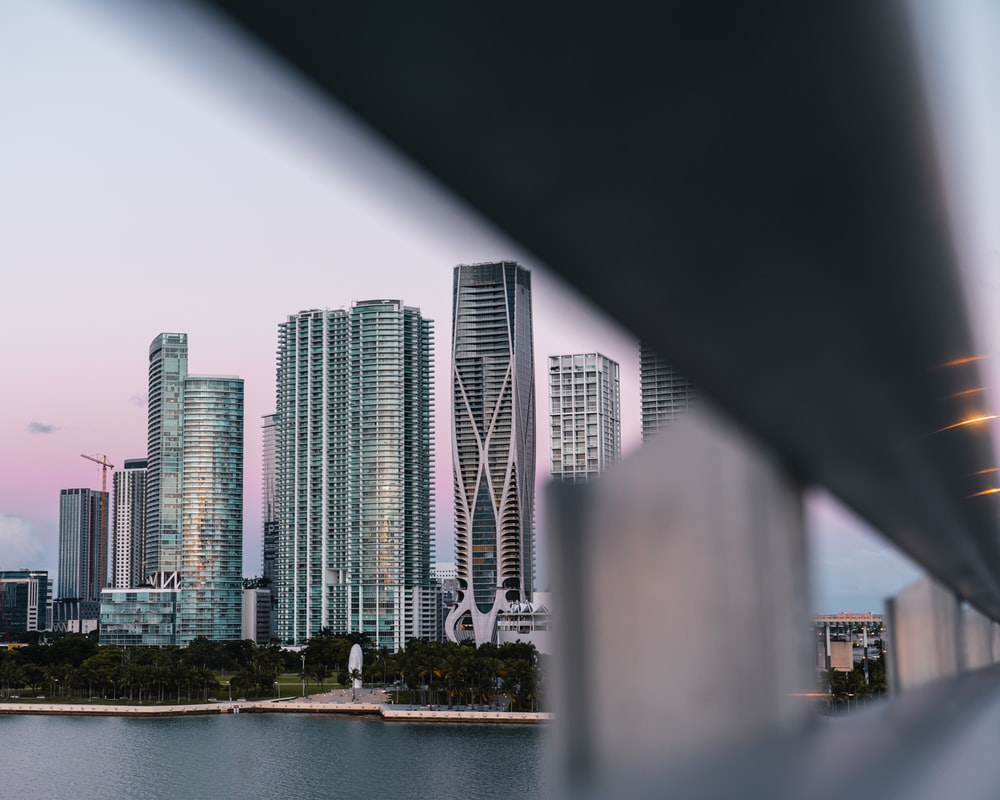 buildings between white sky and body of water