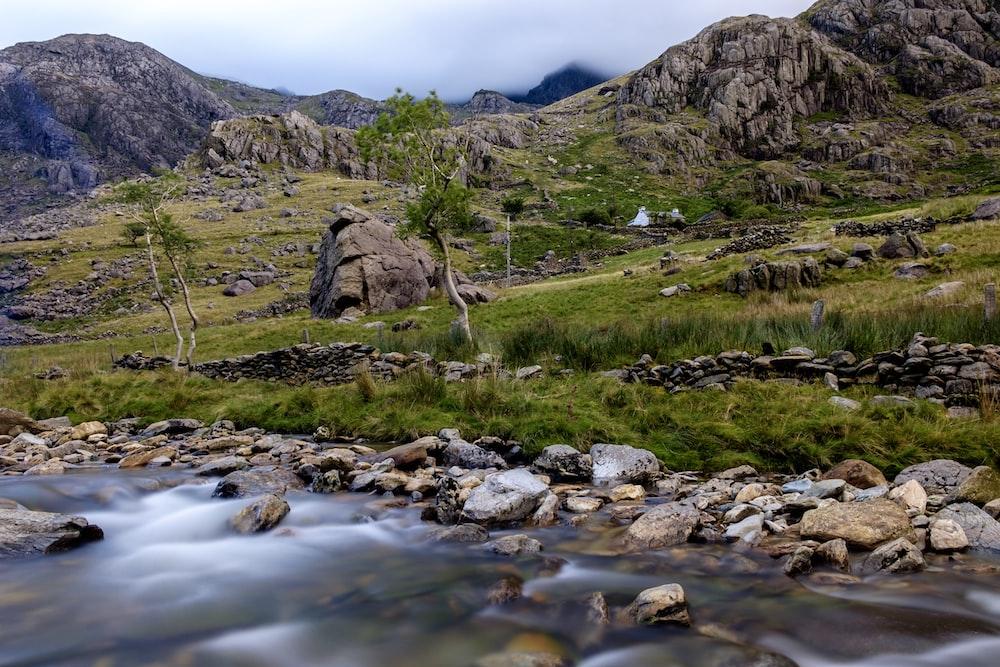 green and brown mountain ridge