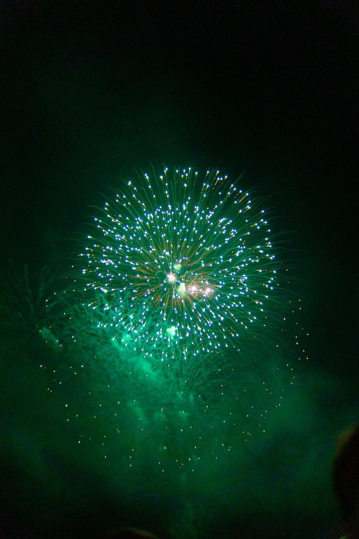 blue fireworks display