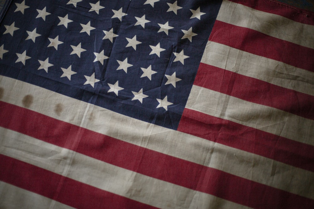 USA flag in close-up photo
