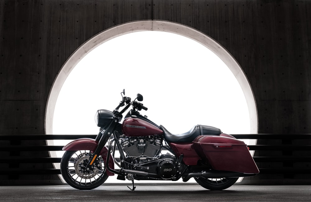 red touring motorcycle