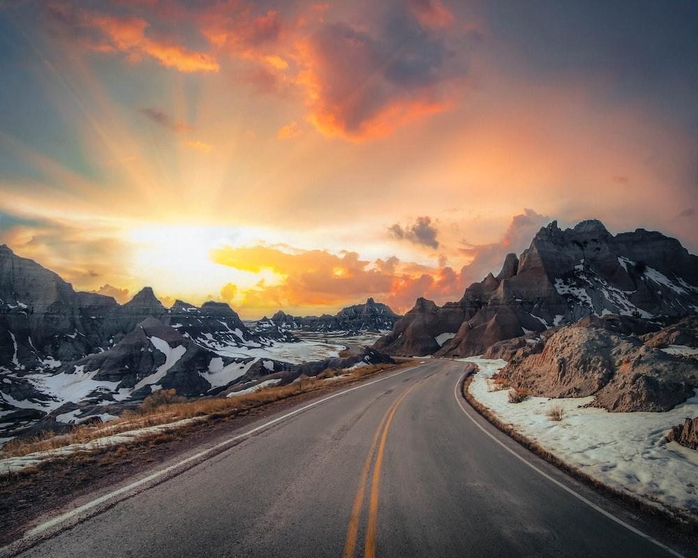 empty concrete road during golden hour