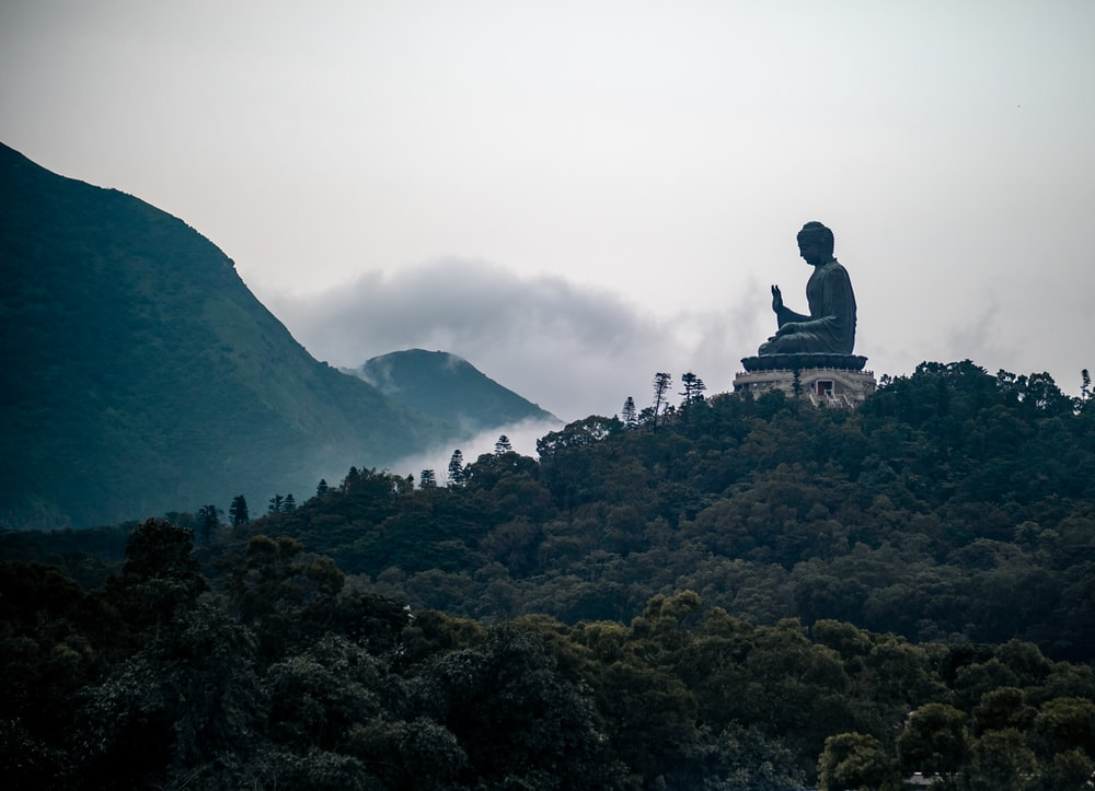 black and grey Buddha statue on top of hill
