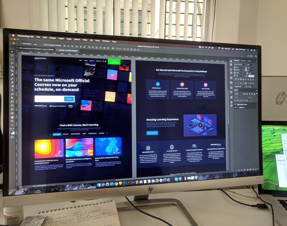 grey flat screen computer monitor with Photoshops. There are some jobs for web designer that applies those kind of programs.