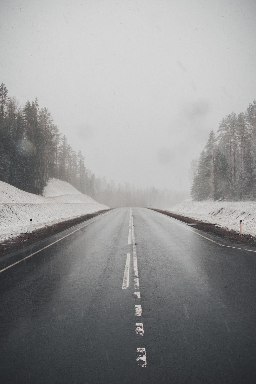highway between snow