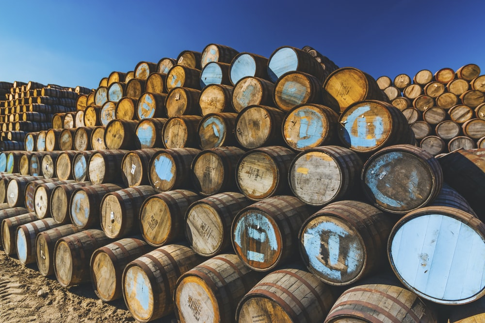 brown wooden barrels