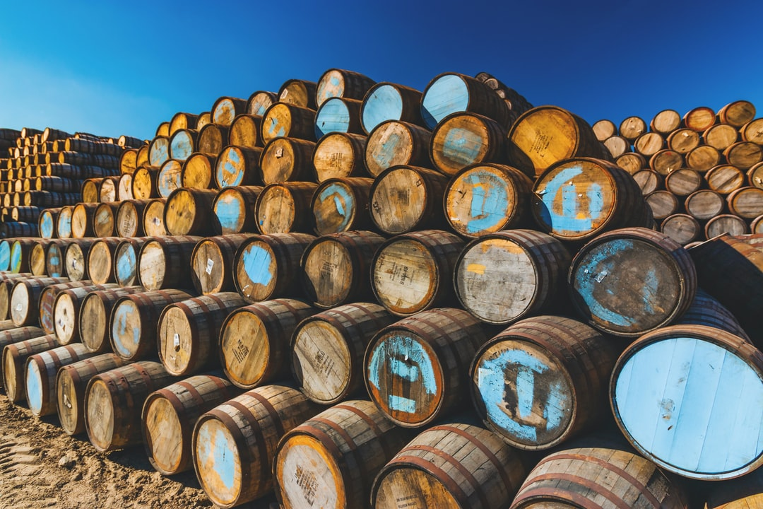 a mountain of whiskey casks in store at the cooperage.