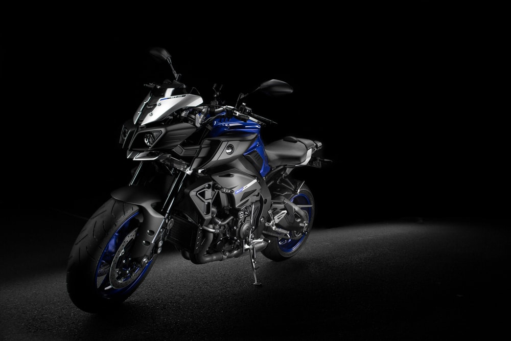 black and blue motorcycle