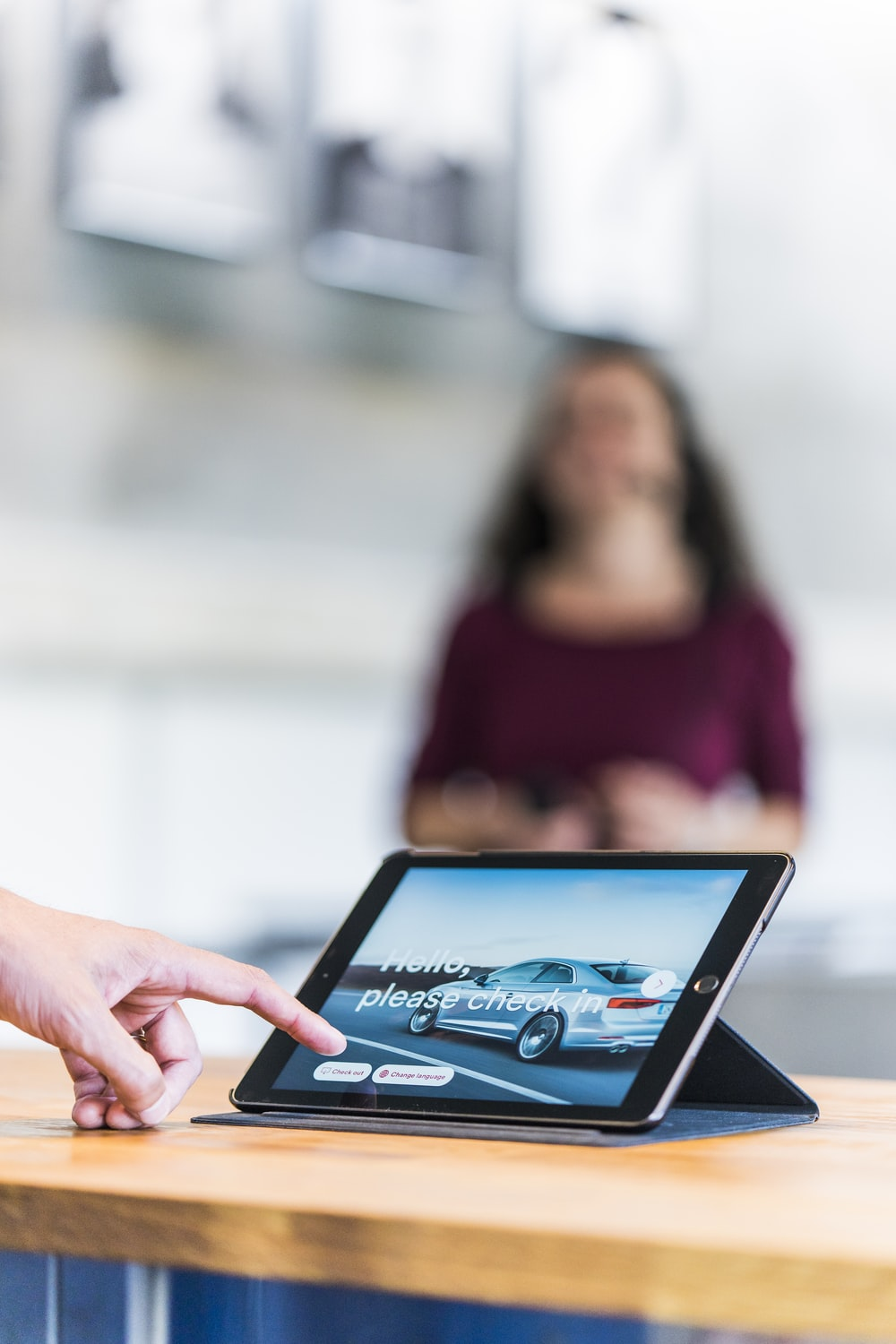 turned-on tablet computer on table