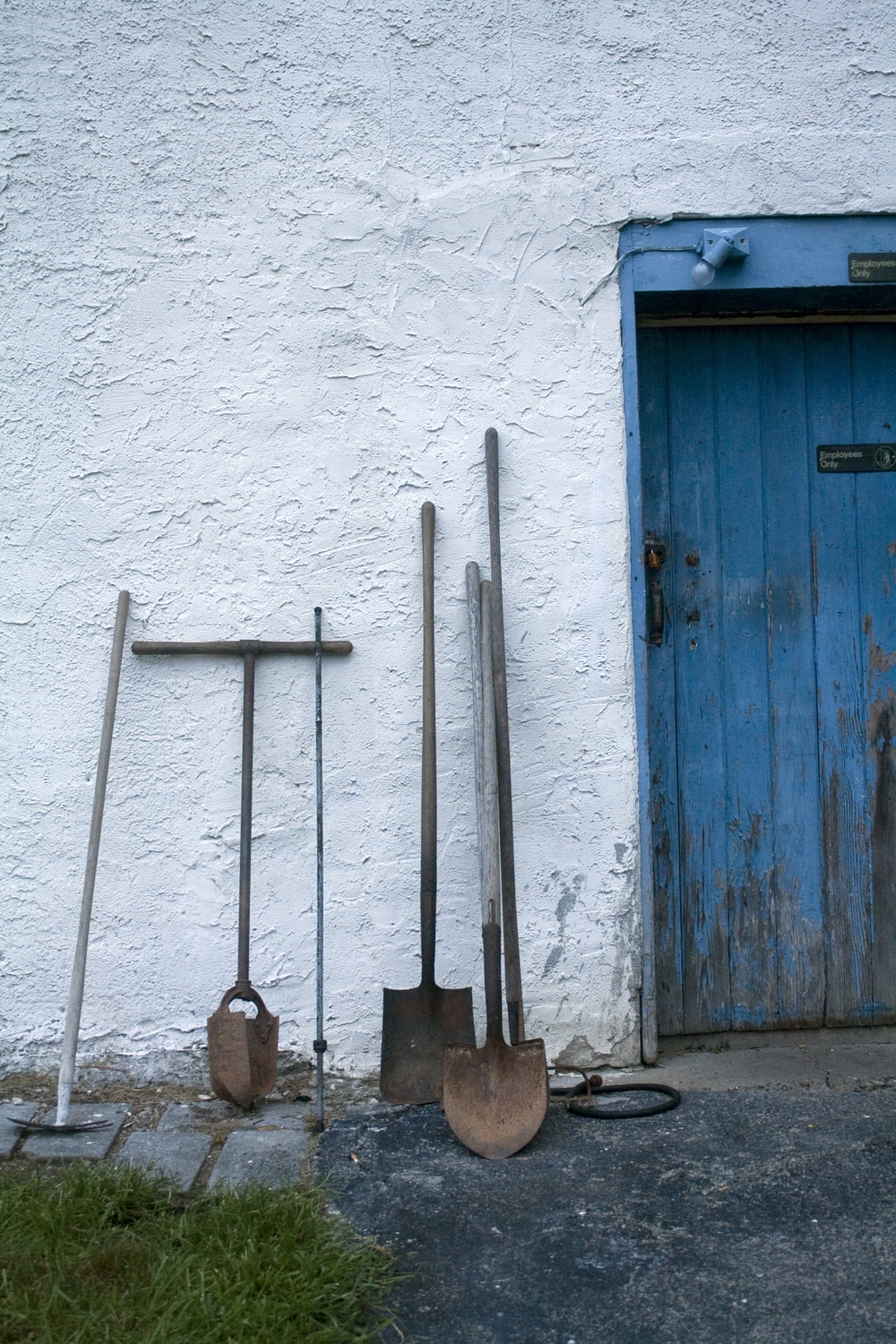 assorted gardening tools leaning on white wall