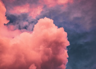 pink and white cumulus cloud